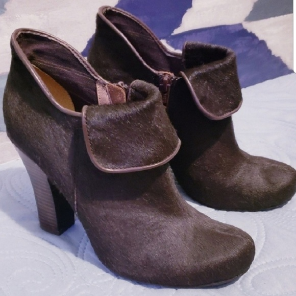 Fossil Calf Hair Ankle Booties